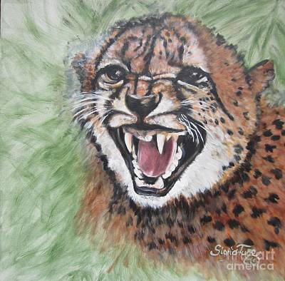 Growling Painting - Angry Baby Cheetah by Sigrid Tune