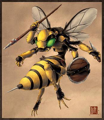 Wasp.insect Digital Art - Angry Bee by James Ng
