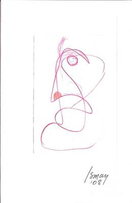 Angry Face - Gesture Drawing Print by Rod Ismay
