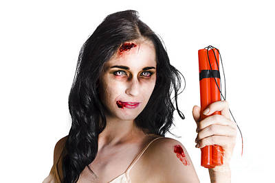 Striking Photograph - Angry Female Zombie With Dynamite by Jorgo Photography - Wall Art Gallery