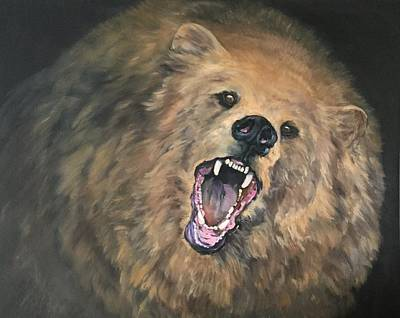 Angry Grizzly Bear Original by Jean Walker