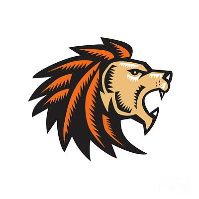 Angry Lion Big Cat Growling Head Woodcut Print by Aloysius Patrimonio