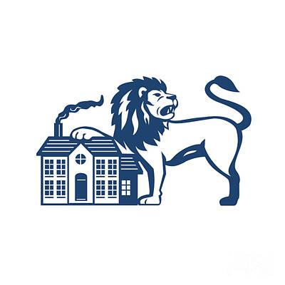 Angry Lion Paw On House Isolated Retro Print by Aloysius Patrimonio