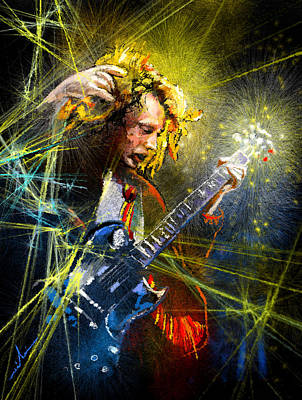 Art Miki Painting - Angus Young by Miki De Goodaboom