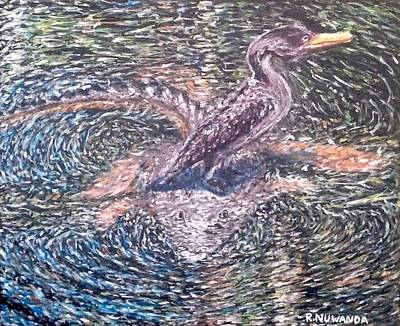 Anhinga Painting - Anhinga Everglades Look Out by Robbie Nuwanda
