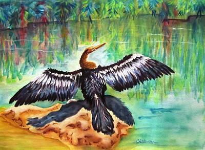 Anhinga In Paradise Original by Carol Allen Anfinsen