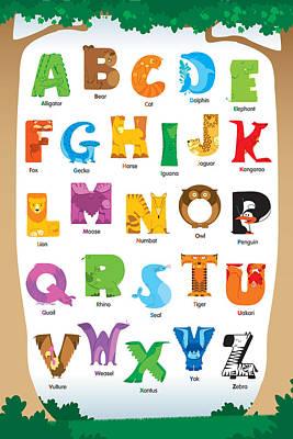 Yak Digital Art - Animal Alphabet by David Corrente