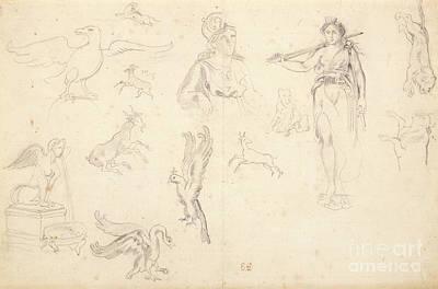 Animal And Figure Studies Print by Eugene Delacroix