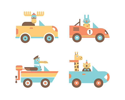 Childrens Rooms Digital Art - Animal Cars by Mitch Frey