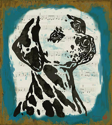 Abstract Of Dogs Drawing - Animal Pop Art Etching Poster - Dog  14 by Kim Wang