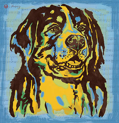 Abstract Of Dogs Drawing - Animal Pop Art Etching Poster - Dog  15 by Kim Wang