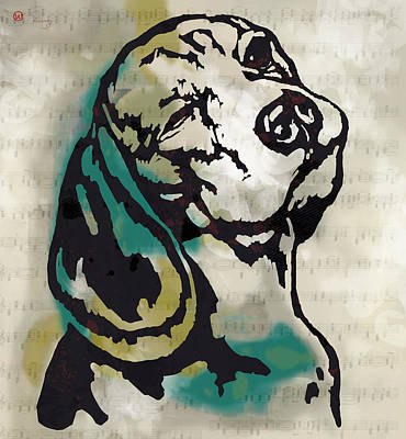 Abstract Of Dogs Drawing - Animal Pop Art Etching Poster - Dog  16 by Kim Wang