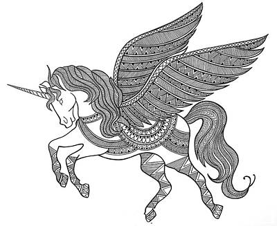 Extinct And Mythical Drawing - Animal Unicorn by Neeti Goswami