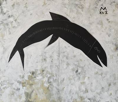 Expressionist Painting - Animalia Black Fish by Mark M Mellon