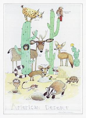 Animals With Cacti In Desert - F Print by Gillham Studios