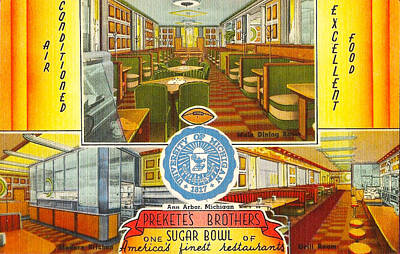 University Of Michigan Mixed Media - Ann Arbor Sugar Bowl Preketes Restaurant - Michigan by Steven Covieo