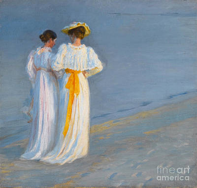 Anna Ancher And Marie Kroyer On The Beach At Skagen Print by Celestial Images