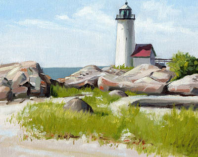 New England Lighthouse Painting - Annisquam Lighthouse by Steven A Simpson