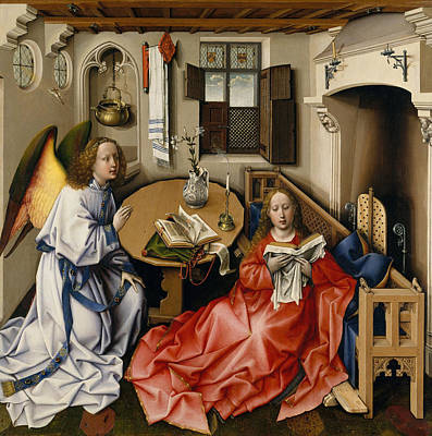 Virgin Mary Painting - Annunciation Triptych, Merode Altarpiece, Central Panel by Robert Campin