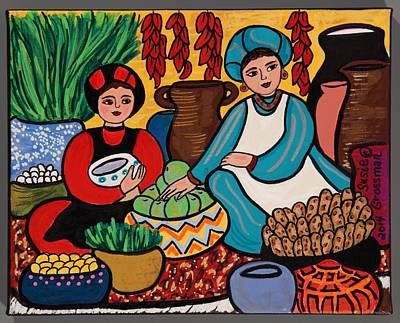 Gold Earrings Painting - Another Day At The Market by Susie Grossman