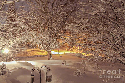 Another Snow Storm 1 Print by Claudia M Photography