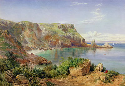 Pencil Painting - Ansty's Cove by John William Salter