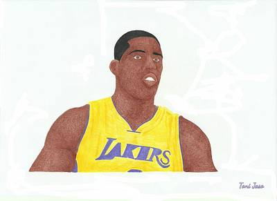 La Lakers Drawing - Antawn Jamison by Toni Jaso