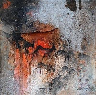 African Art Painting - Antelope Migration by Ingrid  Albrecht