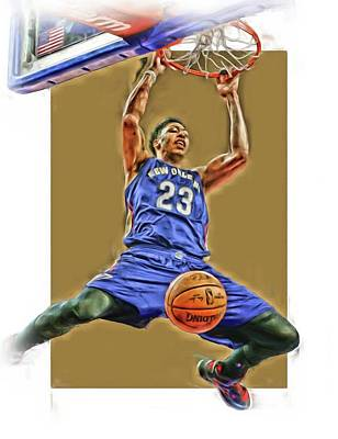 Pelican Mixed Media - Anthony Davis New Orleans Pelicans Oil Art by Joe Hamilton