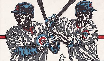 Chicago Baseball Drawing - Anthony Rizzo And Chris Bryant by Jeremiah Colley