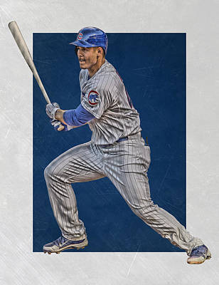 Anthony Rizzo Chicago Cubs Art 2 Print by Joe Hamilton