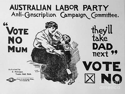 Anti Conscription Poster Print by Pd