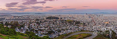 Bay Bridge Photograph - Anti-crepuscule Panorama Of San Francisco From Twin Peaks Scenic Overlook - California by Silvio Ligutti