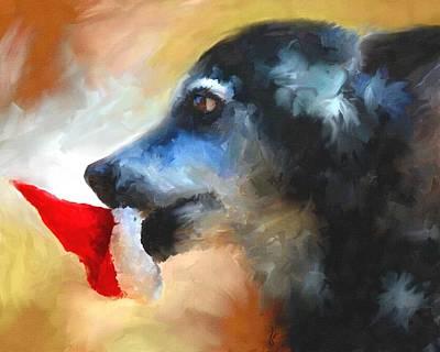 Senior Dog Painting - Anticipating Christmas by Jai Johnson