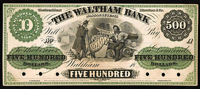 The Economy Drawing - Antique 500 Dollar Bill - The Waltham Bank by Mountain Dreams