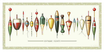 Antiques Painting - Antique Bobbers by JQ Licensing