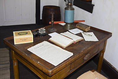 Ledger Lamp Photograph - Antique Desk by Sally Weigand