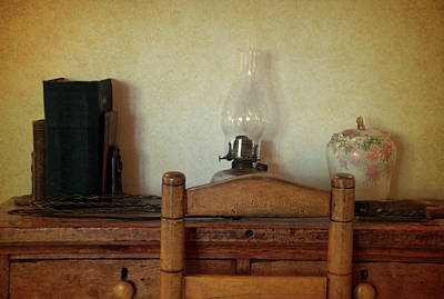 Antique Desk Set Textured Print by Thomas Woolworth