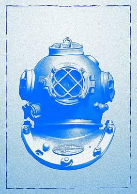 Diving Helmet Digital Art - Antique Divers Helmet Blue by Sandra McGinley