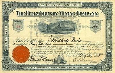 Tn Drawing - Antique Felix Grundy Mining Company Stock Certificate by Cody Cookston