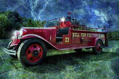 Antique Fire Truck Blended Print by Photo Captures by Jeffery