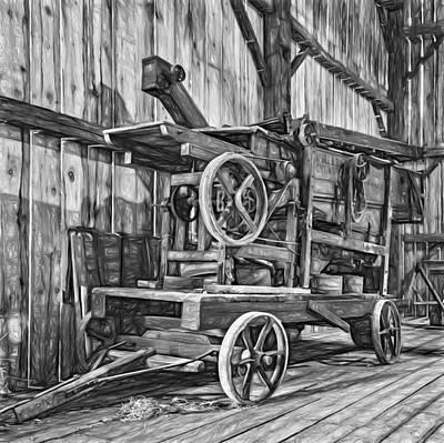 Antique Hay Baler Retirement Bw Print by Steve Harrington
