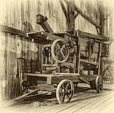 Antique Hay Baler Retirement - Sepia Print by Steve Harrington