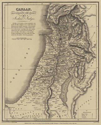 Old Jewish Area Drawing - Antique Map Of Canaan by English School