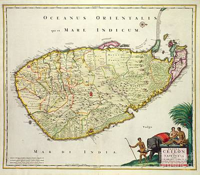 Old Drawing - Antique Map Of Ceylon by Nicolas Visscher