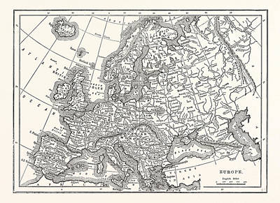 Europe Drawing - Antique Map Of Europe by English School