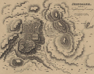 Old Jewish Area Drawing - Antique Map Of Jerusalem by English School
