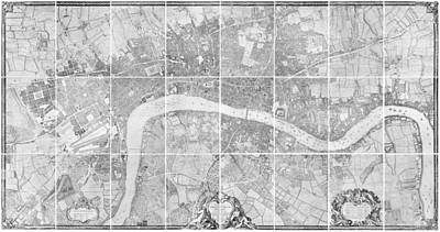 Border Drawing - Antique Map Of London by John Rocque