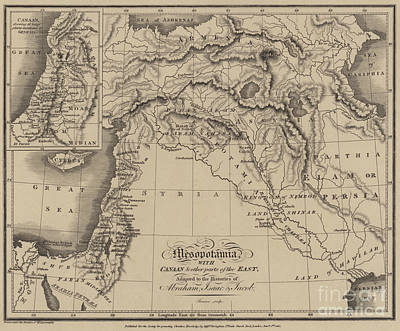 Antique Map Of Mesopotamia With Canaan And Other Parts Of The Middle East Print by English School