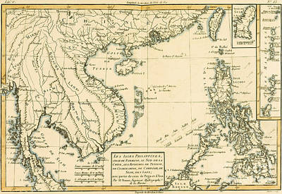 Cambodia Drawing - Antique Map Of South East Asia by Guillaume Raynal